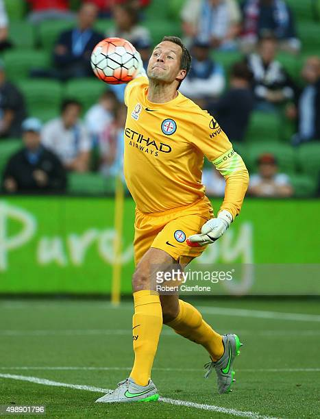 Melbourne City goalkeeper Thomas Sorensen throws the ball during the round eight ALeague match between Melbourne City FC and Perth Glory at AAMI Park...