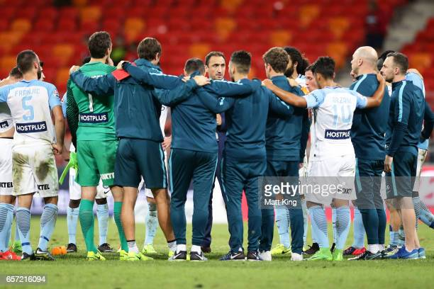 Melbourne City head coach Michael Valkanis speaks to players after the round 24 ALeague match between the Western Sydney Wanderers and Melbourne City...