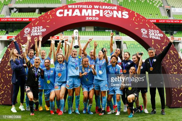Melbourne City hold the troph after winning the 2020 WLeague Grand Final match between Melbourne City and Sydney FC at AAMI Park on March 21 2020 in...