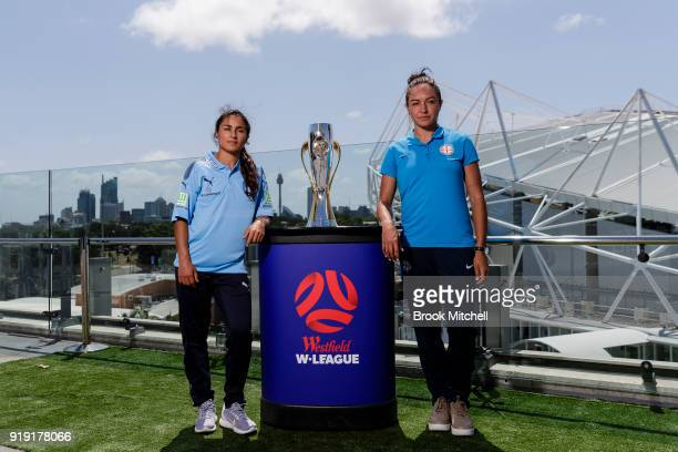 Melbourne City key player Kyah Simon and Sydney FC Captain Teresa Polias pose during the WLeague 2018 Grand Final Media Conference Photo Opportunity...
