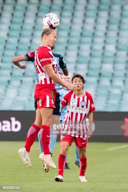 Melbourne City midfielder Aivi Luik goes up for the ball at the WLeague Soccer Grand Final between Sydney FC and Melbourne City at Allianz Stadium in...