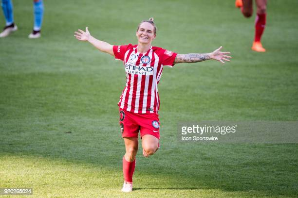 Melbourne City midfielder Jessica Fishlock celebrates her goal at the WLeague Soccer Grand Final between Sydney FC and Melbourne City at Allianz...