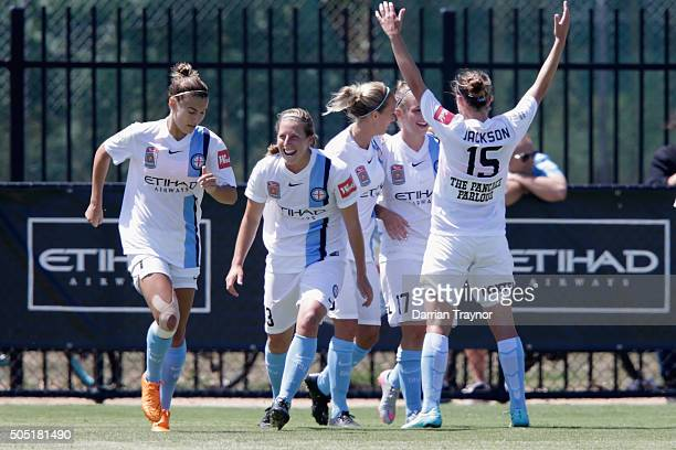 Melbourne City players celebrate a goal by Marianna Tabain during the round 14 WLeague match between Melbourne City FC and Sydney FC at CBSmith...