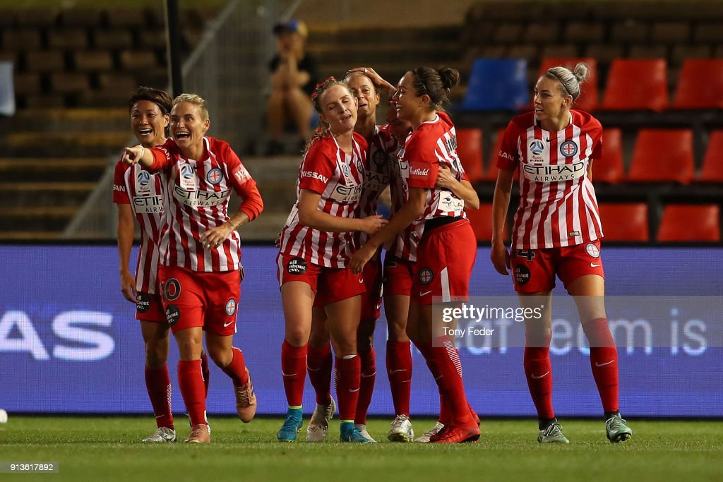 Melbourne City players celebrate a goal during the round 14 W-League match between the Newcastle Jets and Melbourne City FC at McDonald Jones Stadium on February 3, 2018 in Newcastle, Australia.
