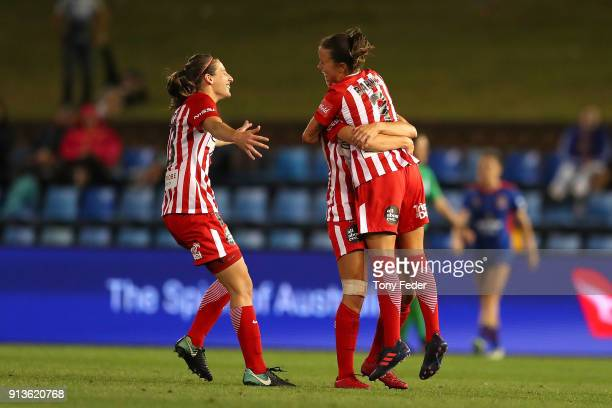 Melbourne City players celebrate a goal during the round 14 WLeague match between the Newcastle Jets and Melbourne City FC at McDonald Jones Stadium...