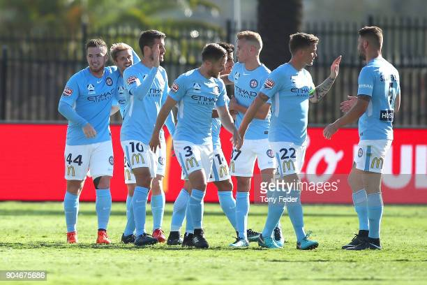 Melbourne City players celebrate a goal during the round 16 ALeague match between the Central Coast Mariners and Melbourne City at Central Coast...