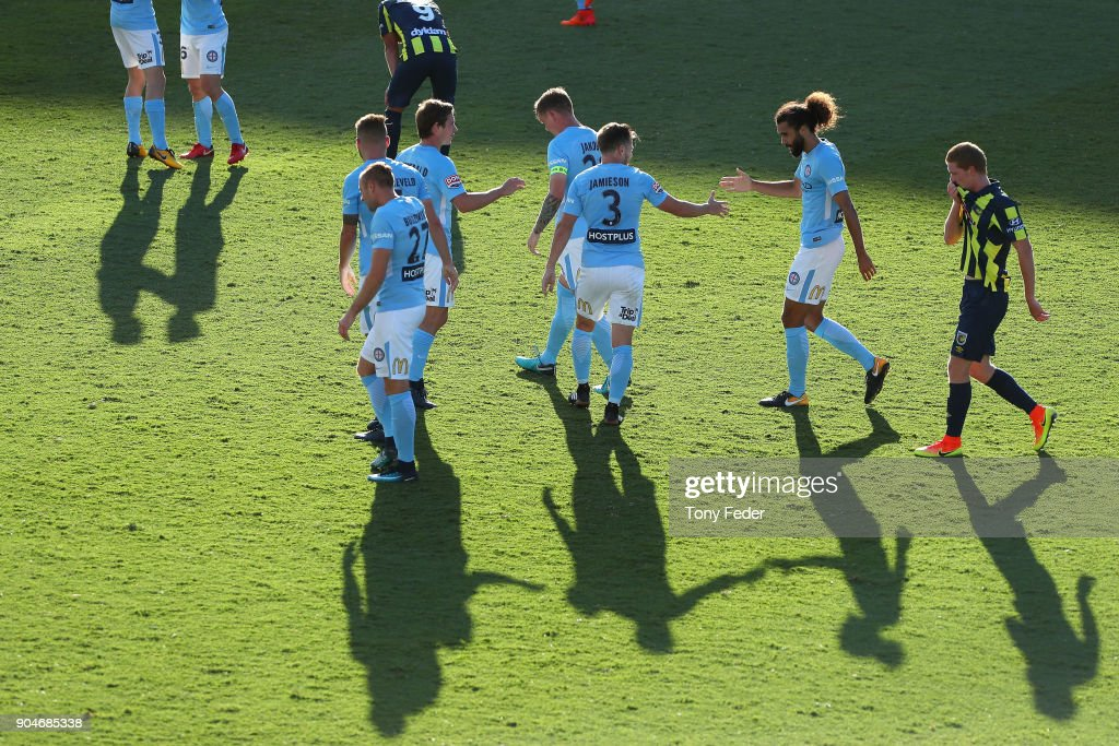 Melbourne City players celebrate a goal during the round 16 A-League match between the Central Coast Mariners and Melbourne City at Central Coast Stadium on January 14, 2018 in Gosford, Australia.