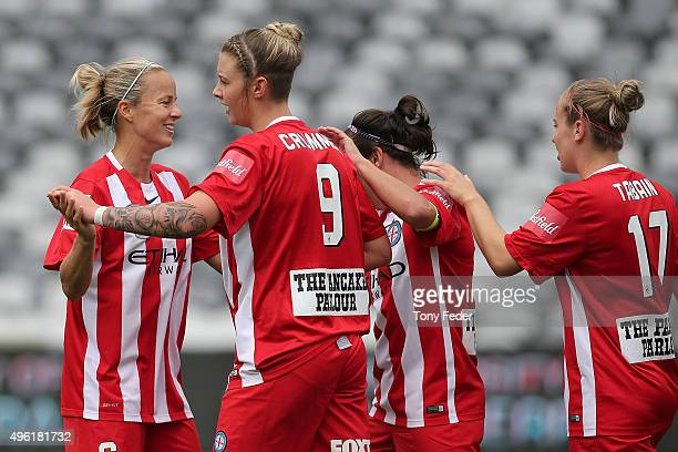 Melbourne City players celebrate a goal during the round four W-League match between Canberra United and Melbourne City FC at Central Coast Stadium...