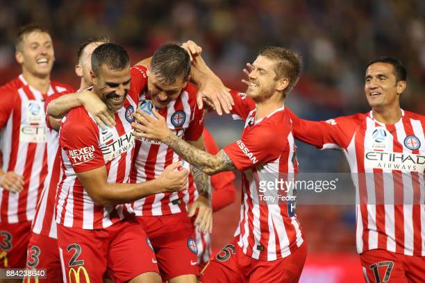Melbourne City players celebrate a goal during the round nine A-League match between the Newcastle Jets and Melbourne City at McDonald Jones Stadium...