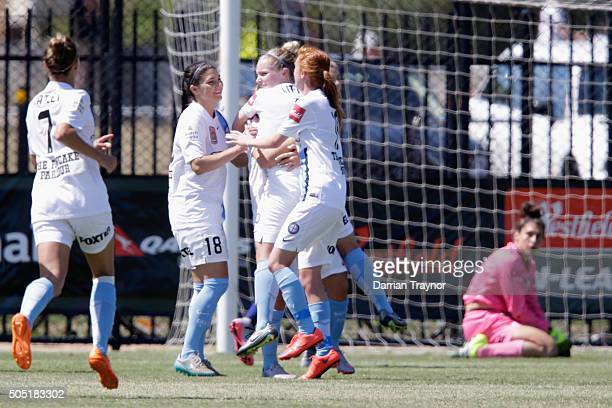 Melbourne City players celebrate a second goal by Marianna Tabain during the round 14 WLeague match between Melbourne City FC and Sydney FC at...