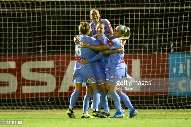 Melbourne City players celebrate after Yukari Kinga of Melbourne City scores a later goal during the round five WLeague match between Melbourne City...