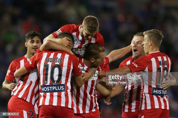 Melbourne City players celebrate an own goal from Nikolai ToporStanley during the ALeague Semi Final match between the Newcastle Jets and Melbourne...