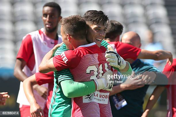 Melbourne City players celebrate the win over Sydney FC during the 2017 Youth League Grand Final match between Melbourne City FC and Sydney FC at...