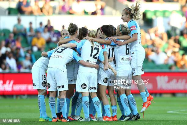 Melbourne City players celebrate winning the 2017 WLeague Grand Final match between the Perth Glory and Melbourne City FC at nib Stadium on February...