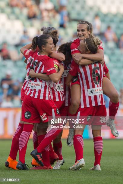 Melbourne City players celebrates after winning the WLeague Grand Final match between the Sydney FC and the Melbourne City at Allianz Stadium on...