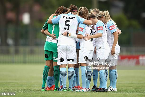 Melbourne City players huddle during the round seven WLeague match between the Western Sydney Wanderers and Melbourne City FC at Popondetta Park on...