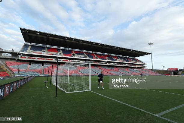 Melbourne City players warm up before the start of the game during the round 26 A-League match between the Newcastle Jets and Melbourne City at...