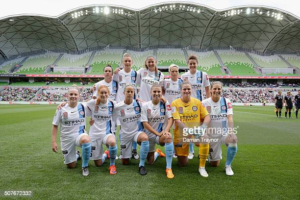 Melbourne City pose for a photo before the 2016 WLeague Grand Final match between Melbourne Victory and Sydney FC at AAMI Park on January 31 2016 in...