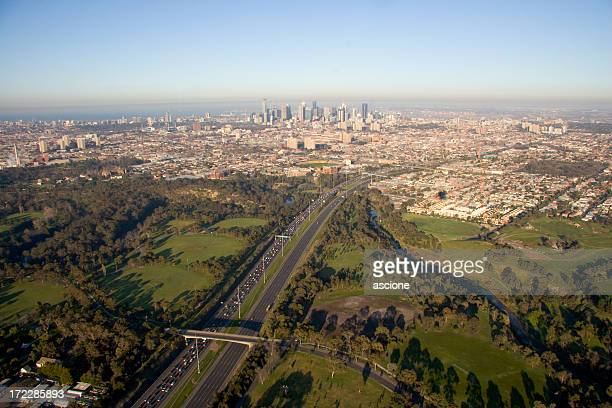 Melbourne city skyline and eastern freeway