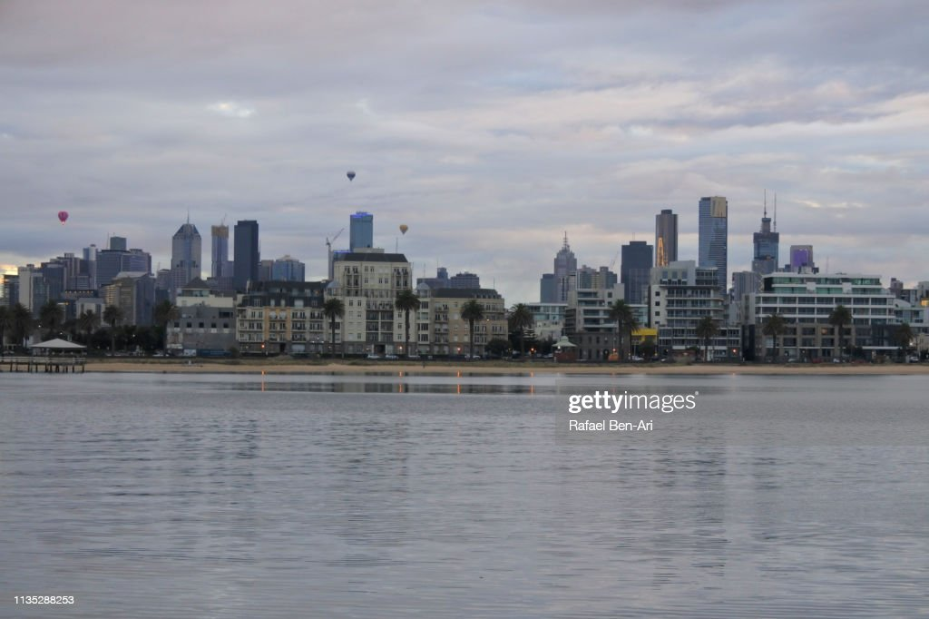 Melbourne city skyline at dawn : Stock Photo
