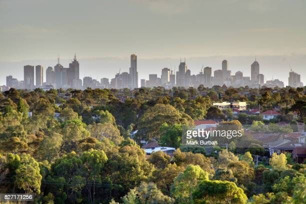 melbourne city skyline & green suburbs - melbourne australia stock pictures, royalty-free photos & images