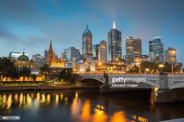 Melbourne city skyline over Yarra river after dark. Victoria. Australia.