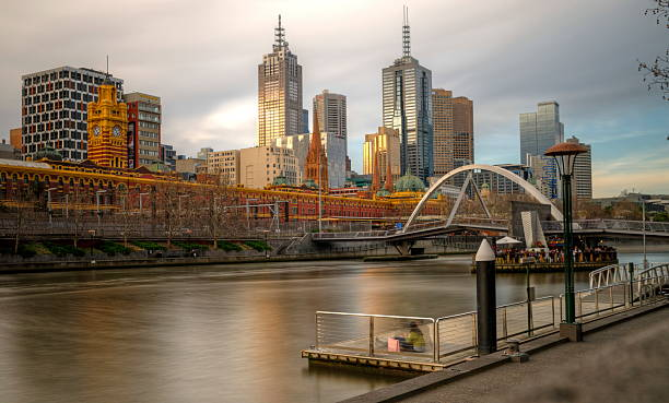 Melbourne City View From Southbank Pier Wall Art