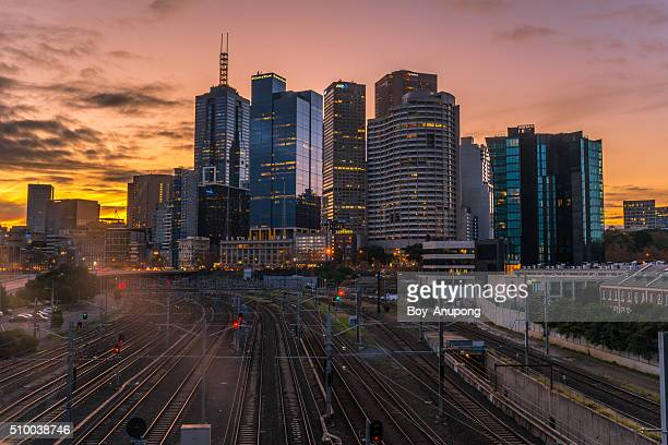 melbourne city with beautiful twilight. - south australia stock pictures, royalty-free photos & images