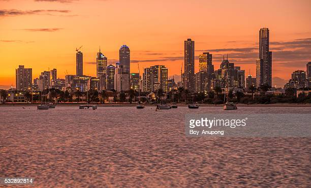 Melbourne cityscape in the evening.