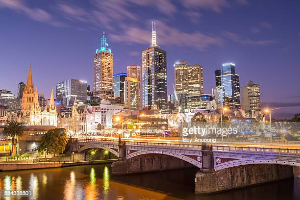 Melbourne cityscape in the night time, Australia.