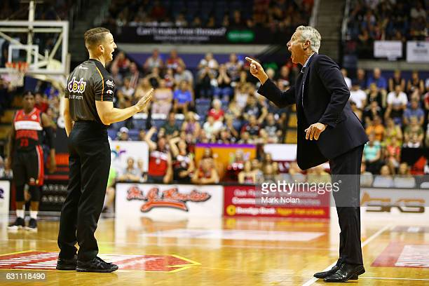 Melbourne coach Dean Demopoulos remonstrates with an umpire during the round fourteen NBL match between the Illawarra Hawks and Melbourne United at...