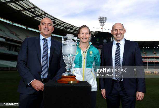 Melbourne Cricket Club CEO Stuart Fox, Australian Women's Captain Meg Lanning and Cricket Australia Interim CEO Nick Hockley pose with the Ashes...