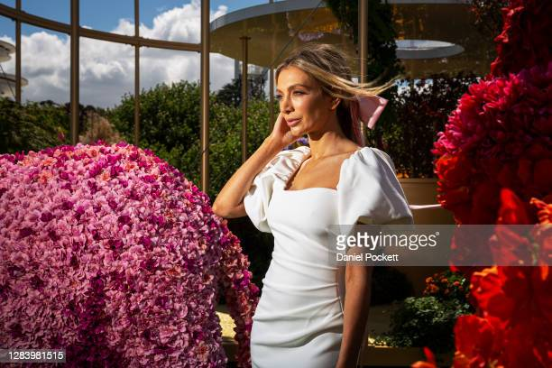 Melbourne Cup Carnival Ambassador Nadia Bartel poses for a photograph during 2020 Kennedy Oaks Day at Flemington Racecourse on November 05, 2020 in...