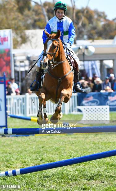 Melbourne Cup winning Jockey Michelle Payne riding Archie competes in the AllStars Jockey Challenge as part of the Australian Showjumping...