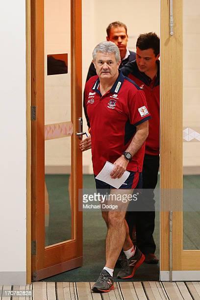 Melbourne Demons AFL coach Neil Craig arrives at the media a press conference at AAMI Park on June 18 2013 in Melbourne Australia