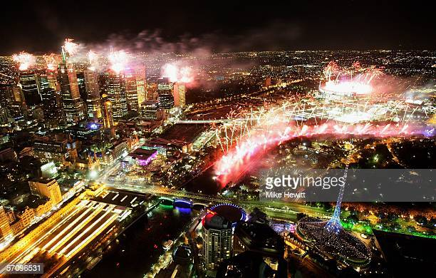 Melbourne expoldes with fireworks during the Opening Ceremony for the Melbourne 2006 Commonwealth Games as seen from the 84th floor of the Eureka...