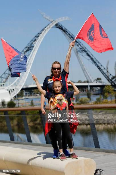 Melbourne fans show their support before during the AFL Prelimary Final match between the West Coast Eagles and the Melbourne Demons on September 22...