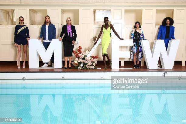 Melbourne Fashion Week Ambassador Adut Akech and Melbourne Lord Mayor Sally Capp pose during the Melbourne Fashion Week Ambassador announcement at...