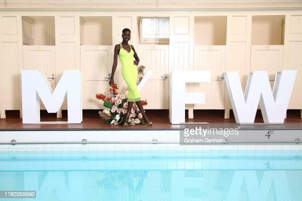 Melbourne Fashion Week Ambassador Adut Akech poses during the Melbourne Fashion Week Ambassador announcement at Melbourne City Baths on July 15 2019...