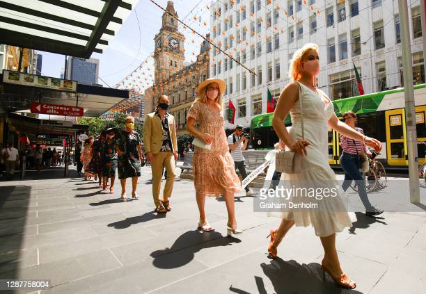 Melbourne Fashion Week Ambassador Stefania Ferrario and models walk through the city during the Pop Up 2 - Bella Model Search runway at Melbourne...