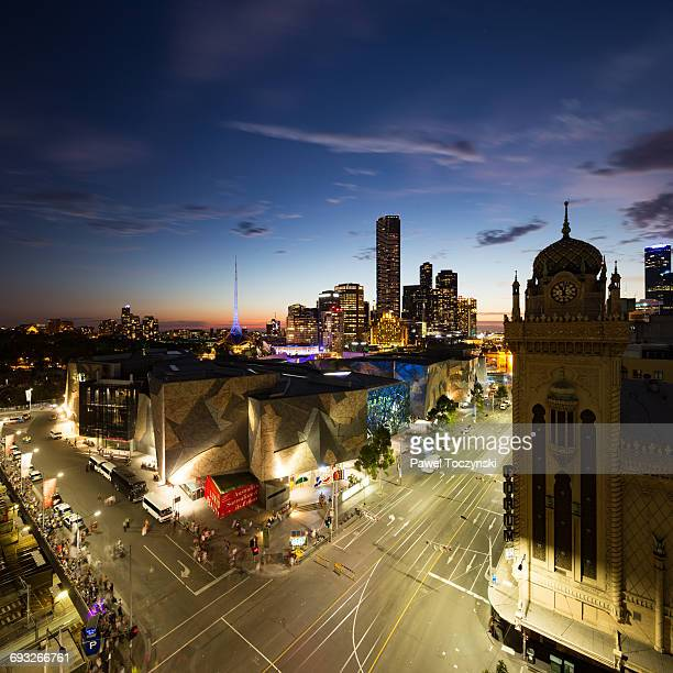 Melbourne Federation Square with Southbank skyline