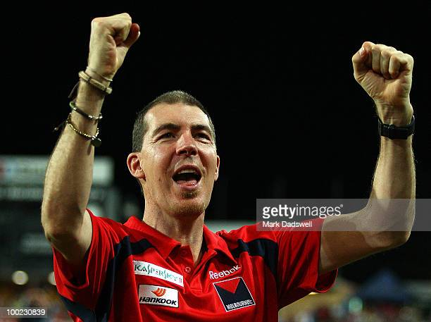 Melbourne Football Club President Jim Stynes salutes the crowd after their win in the round nine AFL match between the Melbourne Demons and Port...