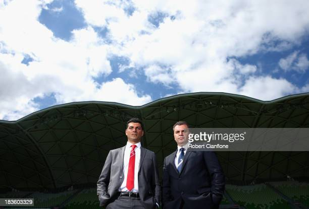 Melbourne Heart Coach John Aloisi and Melbourne Victory coach Ange Postecoglou pose after the 2013/14 ALeague Season Launch at AMMI Park on October 8...
