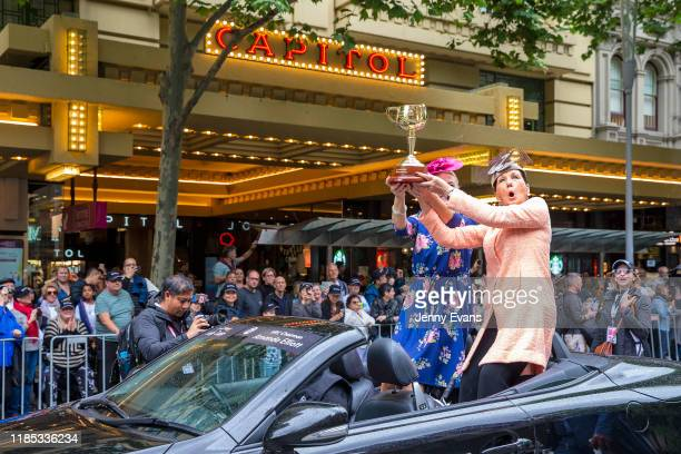 Melbourne Lord Mayor Sally Capp and Victoria Racing Club Chairman Amanda Elliott hold the Melbourne Cup during the 2019 Melbourne Cup Parade on...