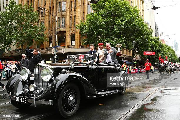 Melbourne Mayor Robert Doyle and VRC Chairman Michael Burn display the Melbourne Cup during the 2015 Melbourne Cup Parade on November 2 2015 in...