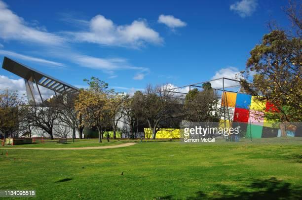 melbourne museum, carlton gardens, carlton, victoria, australia - carlton gardens stock pictures, royalty-free photos & images