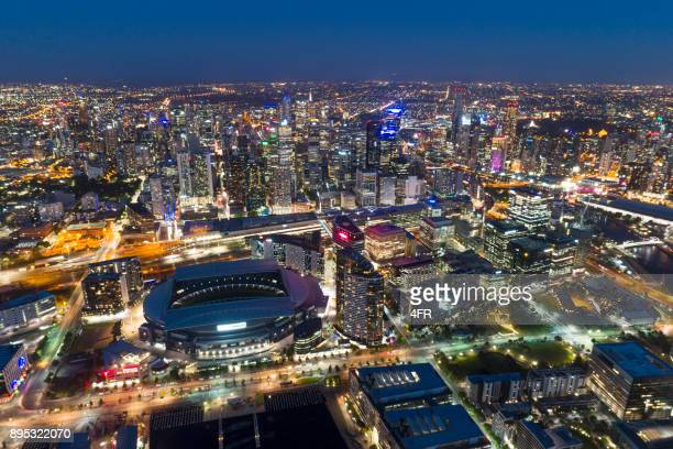 melbourne night skyline, yarra river, australia - docklands stadium melbourne stock pictures, royalty-free photos & images