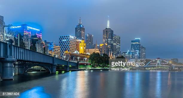 Melbourne night with Yarra river, Victoria, Australia