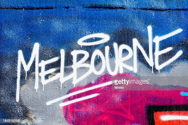 Melbourne painted illegally on public wall.