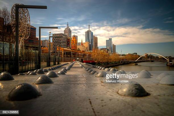 Melbourne pedestrian footbridge and city view